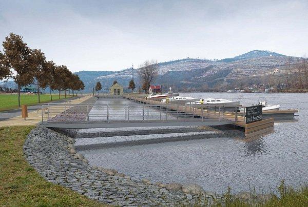 ZÁLIV. Koryto řeky je uMalých Žernosek užší, projekt proto počítá svybudováním zálivu. Návrh přístaviště vytvořil architekt Patrik Kotas, stejně jako například vLovosicích. Spolupracoval sOndřejem Tomkem.