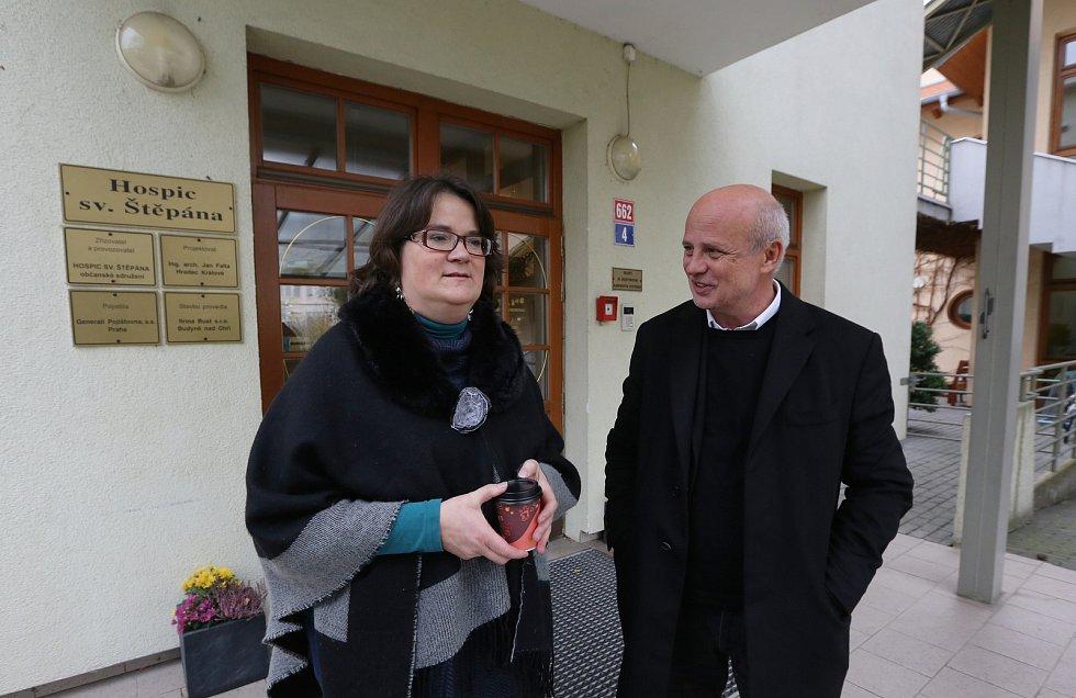 Michal Horáček s Monikou Markovou v Hospici sv. Štěpána v Litoměřicích.