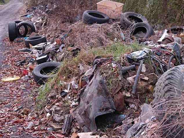 Polní cesty v okolí Nových Dvorů a Rohatců lemují tuny odpadků. Navezený odpad se v této lokalitě hromadí delší dobu.