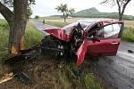 Mladý řidič narazil do stromu na silnici u Podsedic.