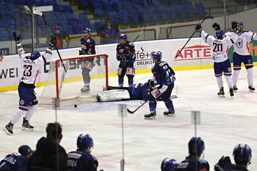 Hokejisté Litoměřic slaví gól, ilustrační foto