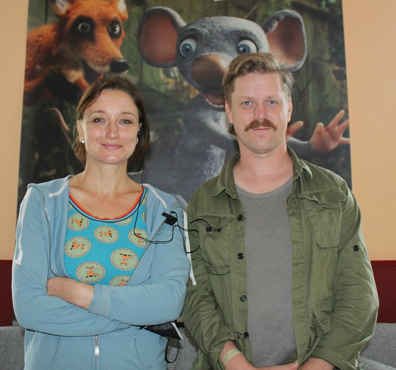 Denisa Grimmová s kolegou na představení snímku Myši patří do nebe na litoměřickém filmovém festivalu.