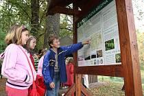 BŘEZINA. Krátce po slavnostním otevření nové naučné stezky si její trasu vyzkoušely jak děti z kostomlatské základní školy (na snímku), tak náhodní turisté.