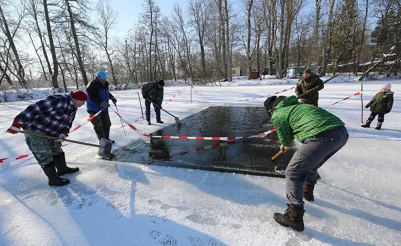 Takto prosekávali doksanští rybáři díry do ledu letos v únoru. Průduchy zajistí rybám dostatek vzduchu.