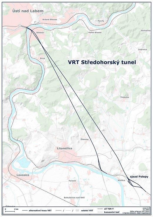 Trať pod Českým středohořím je charakterizována především Středohorským tunelem o délce 17,4 – 18,6 km, v závislosti na výsledku posouzení variantního trasovaní v procesu aktualizace Zásad územního rozvoje Ústeckého kraje.