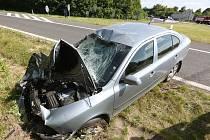 Dopravní nehoda na sjezdu u Lukavce, středa 17.6.2015
