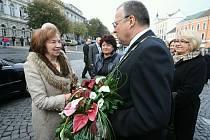 Přivítání prezidentského páru v Roudnici.