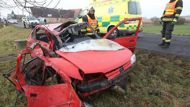 Dopravní nehoda u Hrušovan, 25. ledna 2018.
