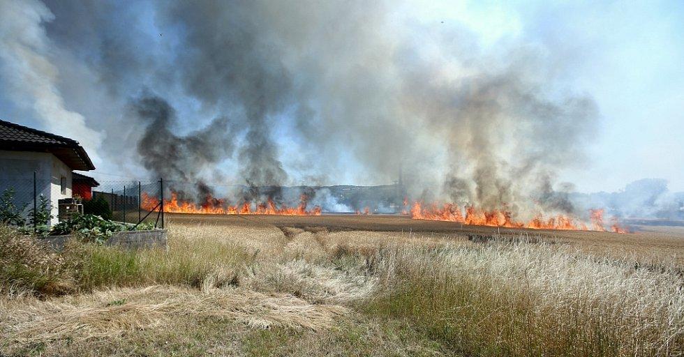Požár pole u trati mezi Lovosicemi a Ústím ohrožuje i rodinné domy