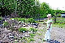 SKLÁDKA vznikla na volném prostranství v zahrádkářské kolonii mezi potokem Modla a železniční tratí v Lovosicích po povodni 2002.