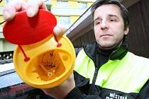 Strážník Městské policie Lovosice ukazuje nádobu na použité jehly a injekční stříkačky. Do ní byly uloženy i nalezené jehly ze zdejší ulice Osvoboditelů v centru města.