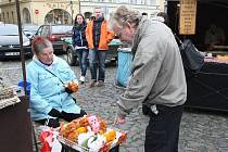 Zimní trhy na Mírovém náměstí v Litoměřicích.