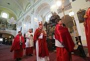 Za mírného krápání žehnal biskup před nedělní mší v litoměřické katedrále svatého Štěpána kočičkám, palmovým listům a jiným zelenajícím se větvičkám.