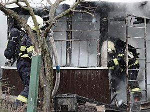 Požár chatky v Litoměřicích