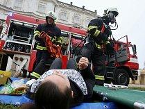 Na zámku v Ploskovicích proběhlo cvičení profesionálních a dobrovolných hasičů.