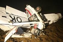 Havarovaná Cessna u Roudnice