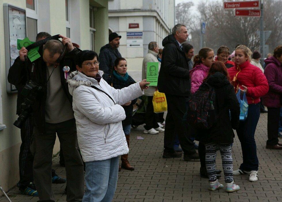 Návštěva Miloše Zemana v Lovosicích.