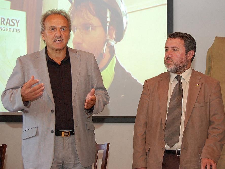 Ladislav Chlupáč a Erich Knoblauch při setkání v Žatci.