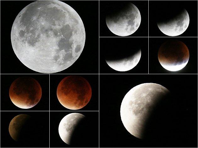 Různé fáze zatmění Měsíce