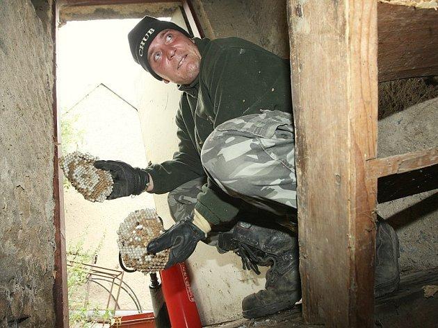 POMOHL SI SÁM. Vladislav Vera ukazuje zbytky sršního hnízda ze svého domu.