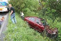 Nehoda na silnici z Litoměřic do Křešic.