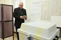 Litoměřický biskup Mons. Jan Baxant odevzdává svůj hlas ve volbách do Evropského parlamentu