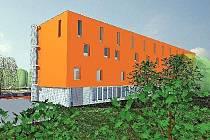 """VIZUALIZACE. Takto měl vypadat objekt školícího centra u zimního stadionu v Roudnici nad Labem. Od jara letošního roku se projekt nerealizuje, neboť došlo """"ke komplikacím"""" mezi městem a zhotovitelem."""