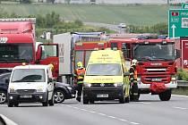 Nehoda na dálnici u Vchynic.