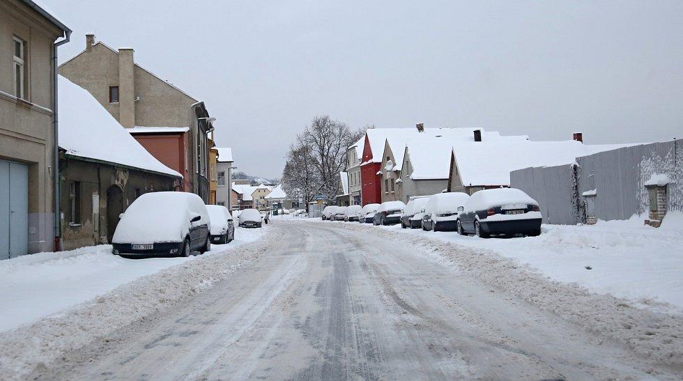 Sněhová nadílka na Litoměřicku, 8. února 2021