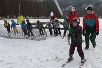 První letošní lyžování v Malečově.