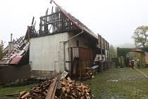 Následky požáru v Srdově