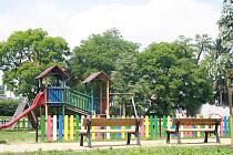 Opravený park Josefa Hory  v Roudnici nad Labem.