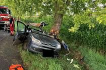 Při druhé nehodě narazilo auto do stromu.