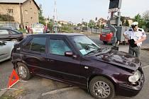 Nehoda u závor v Pokraticích - čtvrtek 16. dubna 2009 odpoledne.