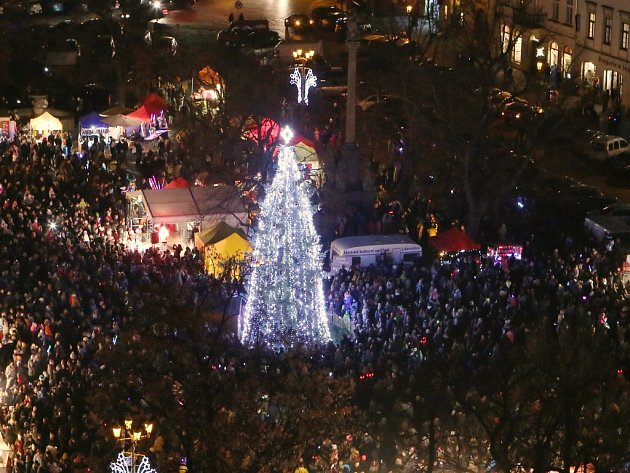 V Litoměřicích slavnostně rozsvítily vánoční strom.
