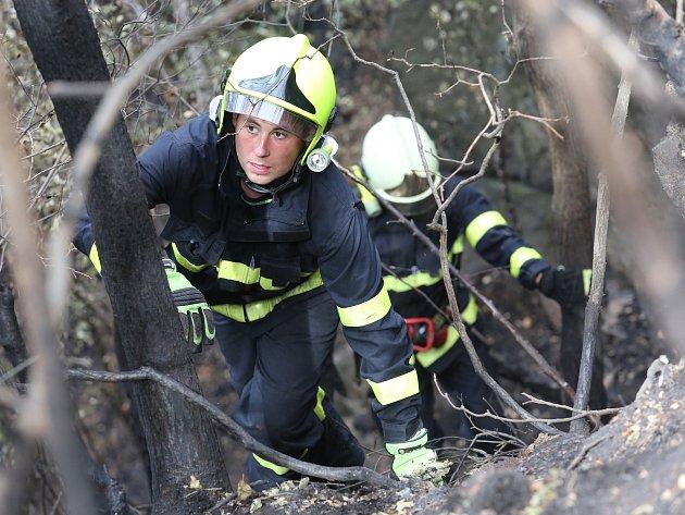 V Litochovicích nad Labem hasiči stále nezkrotili plameny. Ani po čtyřech dnech nedal oheň pokoj a tak hasiči několikrát denně vyjíždějí a hasí ohniska hluboko ve skalách.