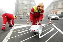 Výstavba okružní křižovatky u Severky.