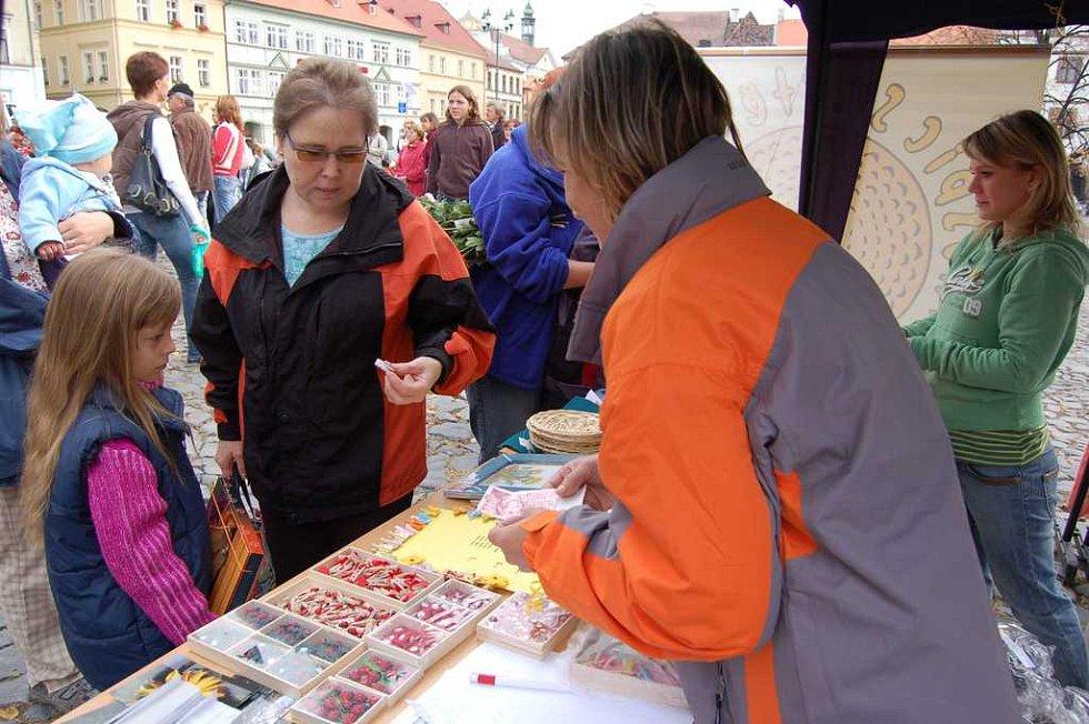 Jaroslava Krucká z Litoměřic na hospic také přispěla. Spolu s vnučkou Káťou si u Marie Prokopové ve stánku na náměstí koupily dlaždici zdobenou ubrouskovou technikou a včelku.