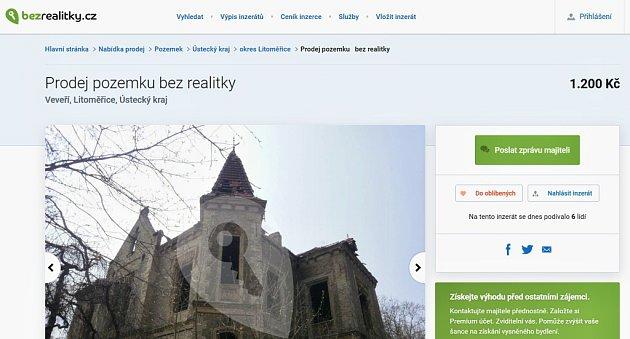 Inzerát nabízející vilu Pfaffenhof na portálu Bezrealitky.cz