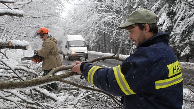 Padající stromy uzavřely dvě silnice a opakovaně zaměstnaly hasiče