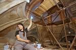 Akademická malířka a restaurátorka Anna Svobodová dává podobu nástěnné výmalbě stropu a stěn