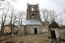 Současný stav historické zvonice v Mukařově.