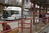 Autobusové nádraží v Litoměřicích, pondělí 23. ledna 2012.