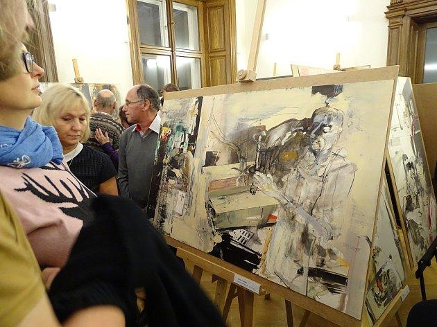 Výstava Jiřího Novosada v lovosické knihovně.
