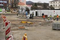Oprava okružní křižovatky u Severky, středa 14.1.2015