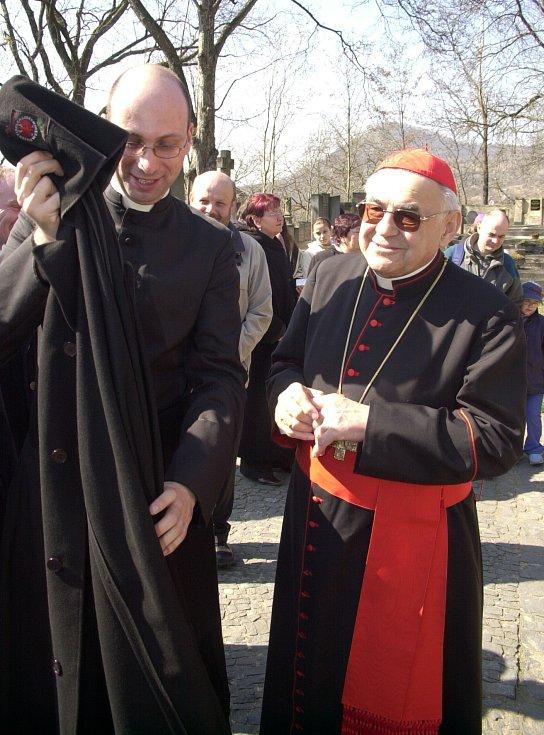 Kardinál Miloslav Vlk navštívil několikrát Litoměřice.