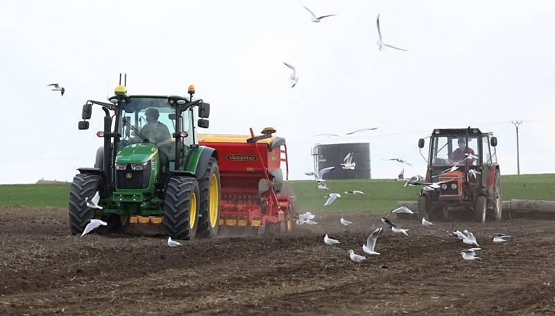 Zemědělci v okolí Házmburku využívají pěkného počasí k setí jařin.