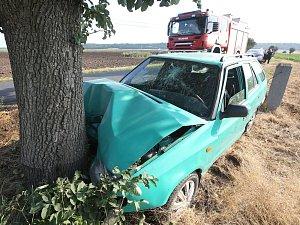 Dopravní nehoda mezi Keblicemi a Brňany.