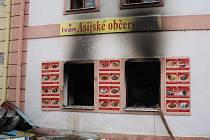 Požár bistra ve Štětí