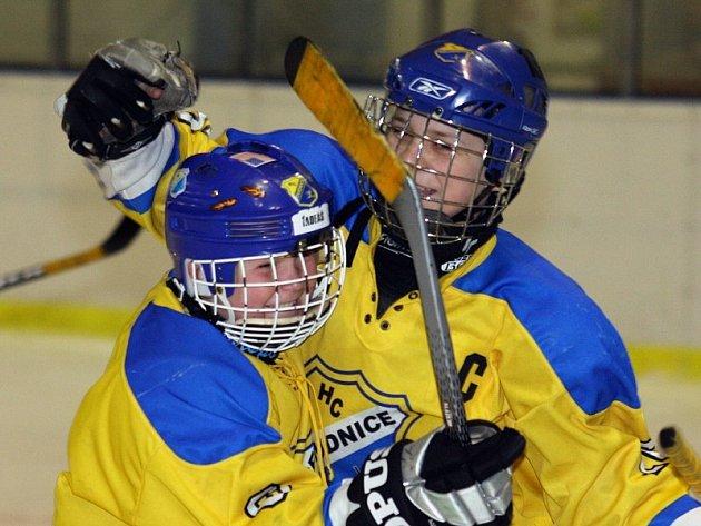 RADOST. Roudnické hokejové naděje se mohly radovat, v turnaji obsadily pěknou třetí příčku.